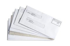 Enveloppe stack. Stack of enveloppes on a white bacground Royalty Free Stock Images