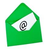 Enveloppe verte avec le symbole d'email Image libre de droits