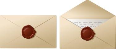 Enveloppen met zegelwas Stock Fotografie