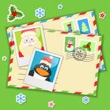 Enveloppes avec des éléments de Noël Photos stock