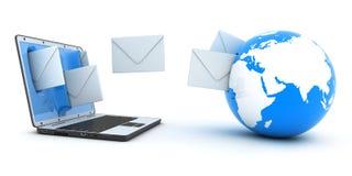 Enveloppes d'ordinateur portatif et de mouche Image stock