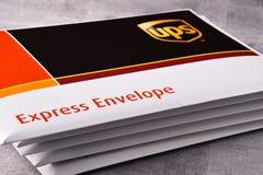 Enveloppes de service ou d'UPS de colis d'Uinited photographie stock libre de droits