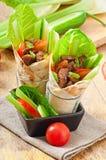 Enveloppes de tortilla avec de la viande photographie stock libre de droits