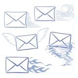Enveloppes opportunes de messages photographie stock libre de droits