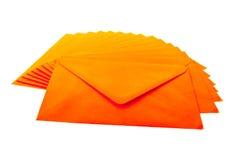Enveloppes oranges Photo stock