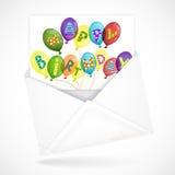Enveloppes postales avec la carte de voeux Photo stock
