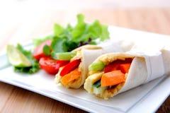 Enveloppes saines de taille de morsure avec la carotte, le poivron et une salade latérale image libre de droits