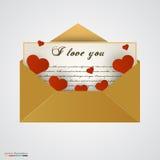 Enveloppez avec la lettre et les coeurs Photo stock