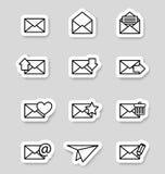 Enveloppictogrammen op stikers Stock Foto's