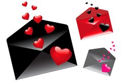Envelops With Hearts. Vector Royalty Free Stock Images