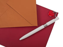 Envelops and pen. Two envelops and white ballpoint pen Stock Images