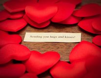 Enviando lhe abraços e beijos Imagem de Stock