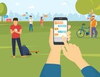 Enviando a mensagem através do mensageiro no smartphone ilustração do vetor