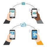 Enviando o dinheiro do texto usando o vetor esperto do telefone Foto de Stock Royalty Free