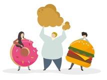 Enviciado a la comida basura y a los bocados ilustración del vector