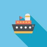 Envie, ícone liso do barco com sombra longa Imagem de Stock