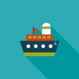 Envie, ícone liso do barco com sombra longa Foto de Stock Royalty Free