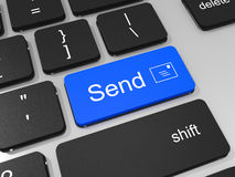 Envie a chave no teclado do laptop. Imagens de Stock Royalty Free