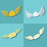 Envie com ícones das asas no fundo azul ilustração royalty free