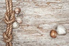 Envie a corda, os escudos e a beira de madeira velha foto de stock royalty free