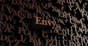 Envie - 3D en bois a rendu des lettres/message illustration stock