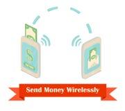 Envie a dinheiro a ilustração isométrica sem fio Imagem de Stock Royalty Free