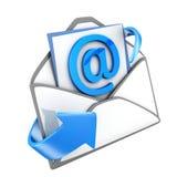 Envie e-mail o símbolo azul, isolado foto de stock royalty free