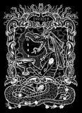 envie Le mot latin Invidia signifie la jalousie Concept de sept péchés mortels, silhouette blanche sur le fond noir illustration stock