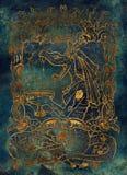 envie Le mot latin Invidia signifie la jalousie Sept péchés mortels concept, silhouette d'or sur le fond bleu illustration stock