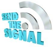 Envie o sinal que flui a transmissão de Digitas das palavras da mensagem 3D Imagens de Stock