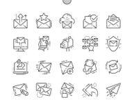 Envie por correio eletrónico a pixel bem feito o vetor perfeito a linha fina grade 2x dos ícones 30 para gráficos e Apps da Web Imagem de Stock