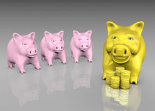 Envied golden piggy Royalty Free Stock Photo