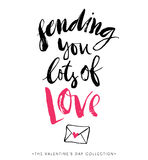 Enviándole porciones de amor Tarjeta de felicitación del día de tarjetas del día de San Valentín Fotos de archivo libres de regalías