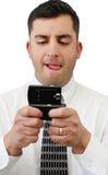 Envio de mensagem de texto do homem de negócios imagens de stock
