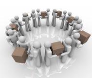 Envio recebendo os trabalhadores que entregam pacotes Imagem de Stock Royalty Free