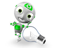 Envirobot and Bulb With Thumbs up Royalty Free Stock Photo