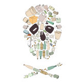 Enviroment pollution. Skull mad of garbage Stock Photography