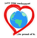 Enviroment protection. The earth inside our heart Royalty Free Stock Photo