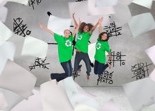 Enviromental activists jumping and smiling Royalty Free Stock Images