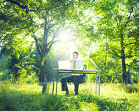 Enviromentally Friendly Business Man working Stock Images