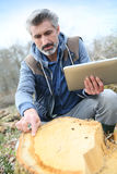 Environement researcher analysing tree trunk Royalty Free Stock Photography