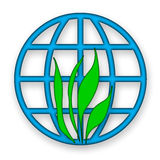 Environment. Al icon with green grass and blue globe over white background Stock Images