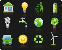 Environment_black background icon set Royalty Free Stock Image