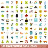 100 environment book icons set, flat style. 100 environment book icons set in flat style for any design vector illustration Royalty Free Stock Photo