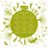 2014 environment calendar. A 2014 calendar with green planet, people and environment illustrations Vector Illustration
