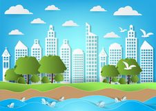 Environment of city with sea and beach background. paper art style vector illustration.  vector illustration