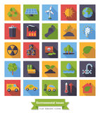 Environment and Climate flat design icons set. Collection of Environment and Climate related square flat design long shadow vector icons Stock Photos
