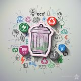 Environment collage with icons background Stock Photos
