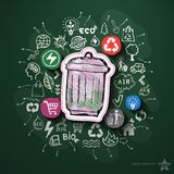 Environment collage with icons on blackboard Royalty Free Stock Photography