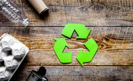 Environment concept with recycling symbol on rustic background t stock photography